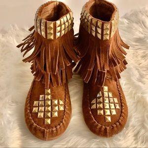 Jeffrey Campbell Free People Tan Moccasin Boots 7